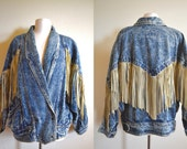 Vintage Acid Wash Jacket with Fringe, Insane Oversized 80s Denim Jacket