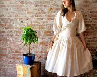 Raw Silk Wedding Dress - Knee Length - XS - Champagne - Off White -  Wedding GownSide Zipper - Hand Crocheted Lace Trim