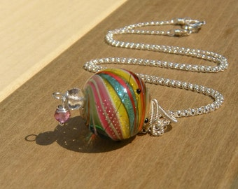 Galaxy Glitter II  // Artisan Lampwork // Coiled Sterling Jewelry // Bohemian Necklace