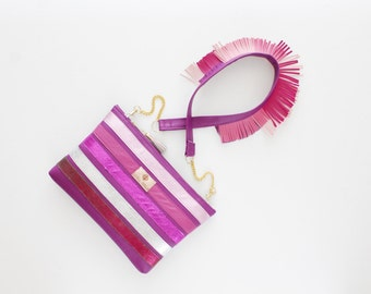 20% off MILA / Convertible leather striped purse with fringe epaulette shoulder strap - Ready to Ship-Sale