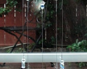 Light Blue Tiara Sandwich Glass Heart Wind Chime with Stained Glass Chimes