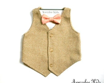 Boys Tan Tweed Vest, Infant to Teen, Wedding Ring Bearer, Toddler Vest in Tan, Tan Tweed Boys Vest