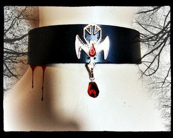 True Blood Choker, Vampire Leather Choker, Black Leather, Gothic, Choose Size