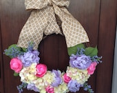 Yellow Pink and Lavender Spring/Summer Wreath