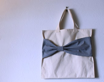 Colored Bow Bag - Canvas Tote Market Bags - Cute Handpainted Gift or Present for Bridesmaids