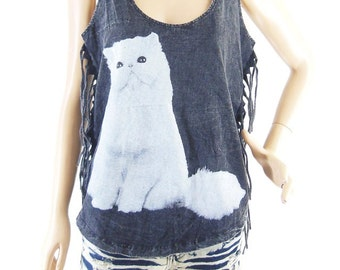 Cat T Shirt Cat Tank Top meow tee cute tee  Women T Shirt Bleached Black Shirt Top Tunic Sleeveless (Measurements - fits great from S - M)
