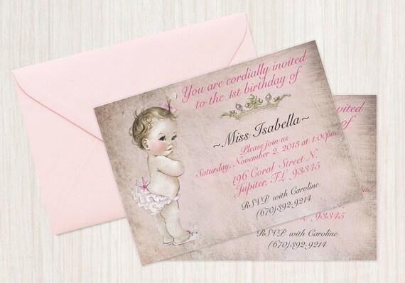 Vintage Baby Girl Customizable Birthday Invitations, Customize, Girl Birthday Invitations, First Birthday, Printable Invitations, Baby Girl