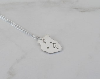 Anatomical Heart Organ Necklace, Handcrafted Eco-friendly Sterling Silver Heart, Engraveable