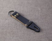 Horween Leather Black Military Keychain Snap
