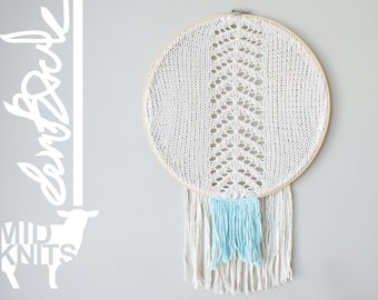 "DIY Knitting PATTERN - Chevron Fringe Dreamcatcher Inspired Wall Hanging  Size: 14"" diameter (2015010)"