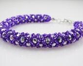 Royal Purple Bracelet, Tubular Netting, Handmade Beaded Bracelet, Purple and Silver, 7 1/4 inches
