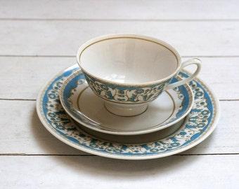 SALE Vintage German Teacup and Saucer Trio Set - Turquoise Blue Ornate Border and Cream