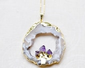 large druzy agate slice with amethyst crystal points /// modern layering jewelry /// raw druzy agate geode