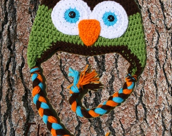 Custom Crochet Owl Earflap Hat