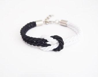 Sailing bracelet - rope knot bracelet - black white bracelet - nautical rope bracelet - silk knot bracelet - nautical jewelry