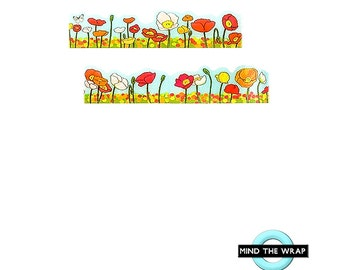 Poppies - Die Cut Washi Tape - 20mm x 5m - a Field of Bright Poppies and a Blue Sky - Poppy Fields - Red Orange Yellow