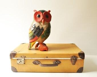 Large Vintage Wooden Owl - Carved Wood