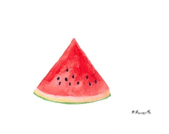 Watermelon watercolour painting, original artwork fruit painting kitchen decor 7 x 5 inch