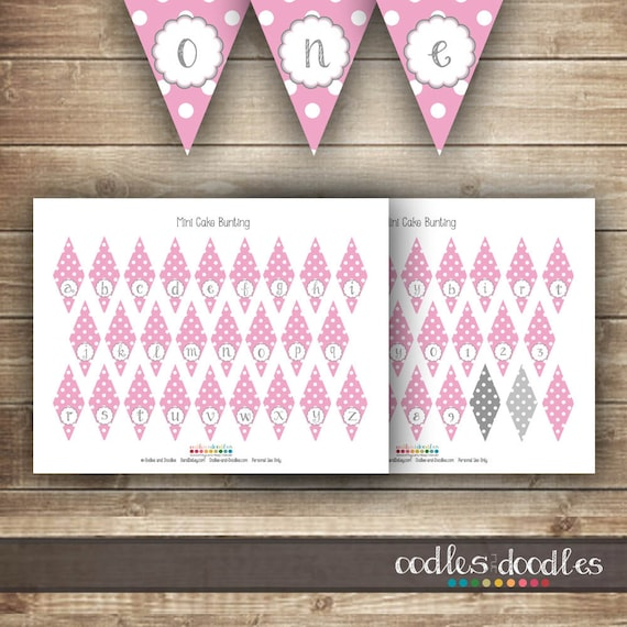 Mini Cake Bunting Pink and Gray Elephant Birthday Party by OandD