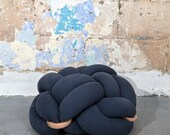 Medium Dark blue Floor Cushions, Knot Floor Pillow, Modern Home Decor cushion, pouf ottoman, Meditation Pillow,