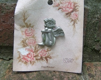 Lindsay Claire Designs Sitting Angel Pewter Pin