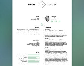 Professional Resume Template with Matching Cover Letter | Mint Green | Microsoft Word Template | Editable Resume Template | DALLAS