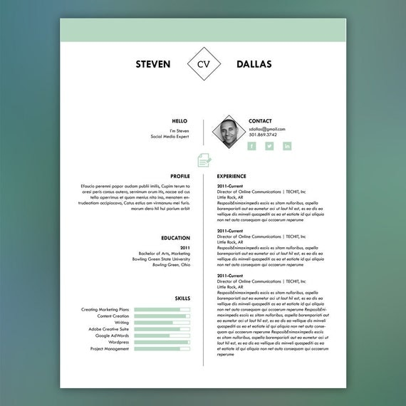 professional resume template with matching cover letter mint
