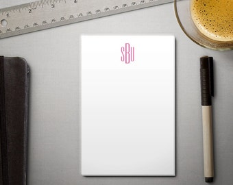 Personalized Notepad - Sleek Modern Monogram - To Do List - 100 sheets - Choose Your Ink Color
