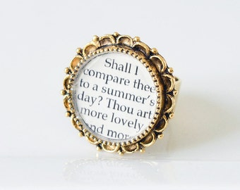 Shakespeare Jewelry – Shakespeare Sonnet 18 Literary Ring –  Famous Love Poems