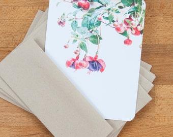 Personalized Stationery Cards - Fuchsia Flowers - Stationary Set - Custom Gift