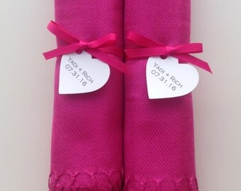 Hot Pink Shawls with Hot Pink Ribbon and Heart Favor Tags, Set of 2, Pashmina, Wedding Favor, Bridal Shower, Bridesmaids Gift, Wraps