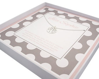 925 sterling silver Christening necklace - tree of life