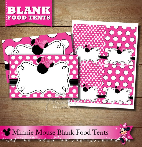 Blank Minnie Mouse Food Tents Pink Minnie Mouse Placecards