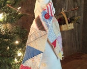 "Primitive ""Grace"" Snowman with Vintage Quilt Scarf"