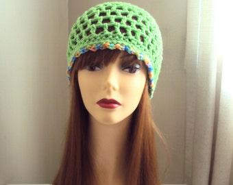End of Season SALE!  Crochet Hat Green Festival Hat  Beach Accessories Women Hair Accessories  Gift Ideas