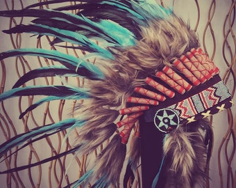 American Indian Inspired  Light Blue / Turquoise  and dark Feather Headdress / Warbonnet