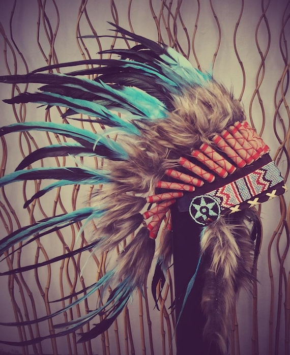 Indian Light Blue / Turquoise  and dark Feather Headdress / Warbonnet