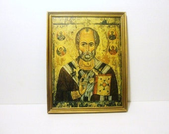 Saint Nicholas Patron of Greece. Framed. Smaller Framed Collotype