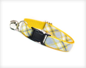 "Cat Collar - ""Boardwalk"" - Yellow, Gray and White Plaid"
