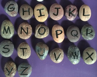 Engraved Stones, ABC Magnet Stones. learning ABC's for kids.