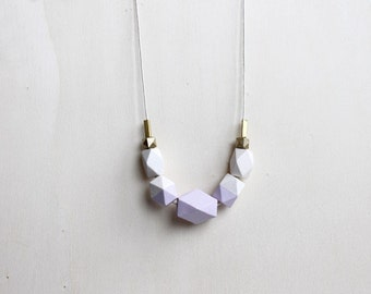nude lilac wooden necklace, pastel geometric necklace, everyday necklace, gift for her, anniversary gifts