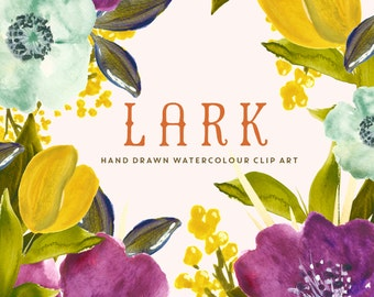 Flower Watercolour Clipart, Hand Painted Graphics - Lark
