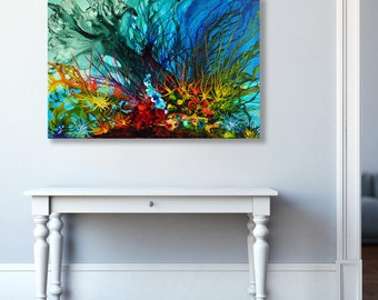 Abstract Art Print Giclee Print Seascape Painting Coastal Art Blue Artwork Coral Art, Ocean Art, Underwater Large Canvas Print by Julia Bars