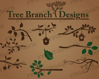 Tree Branch Designs - Vector Art Vinyl Ready Designs EPS Ai SVG DXF Digital Download