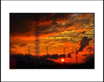 Orange Sunset Photography, Urban Decor, Photography Digital Download, Mexican Landscape, Travel Photography Mexico, Digital Print Download