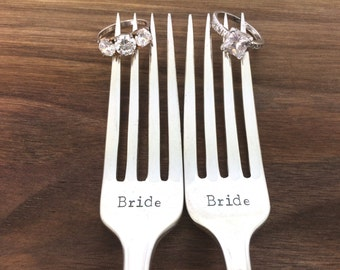 Lesbian wedding gift, hand stamped forks, gay wedding forks, bride bride forks, same sex wedding gift