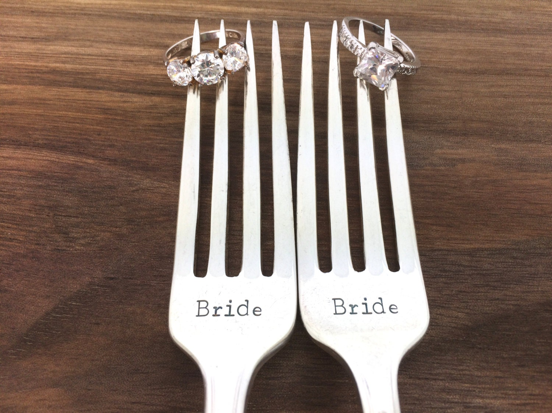 Same sex wedding gift Hand Stamped Vintage Silverware gay