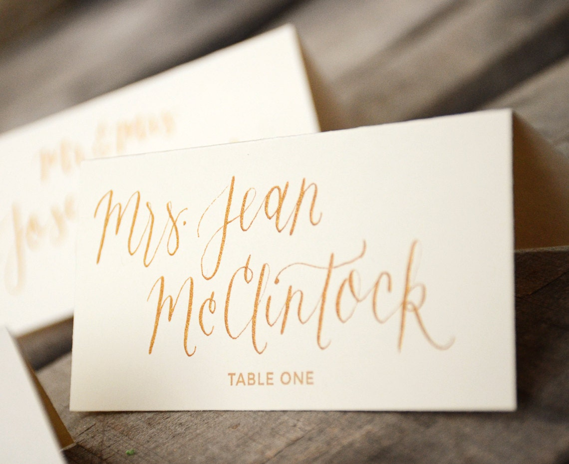 Place cards handwritten calligraphy by yournewfriendsam on