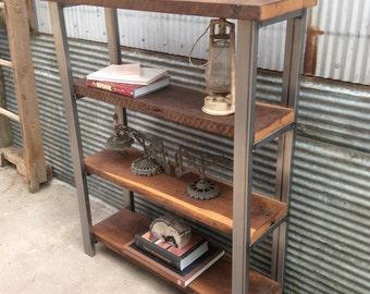 Open Shelving Bookcase / Reclaimed Wood + Steel Frame
