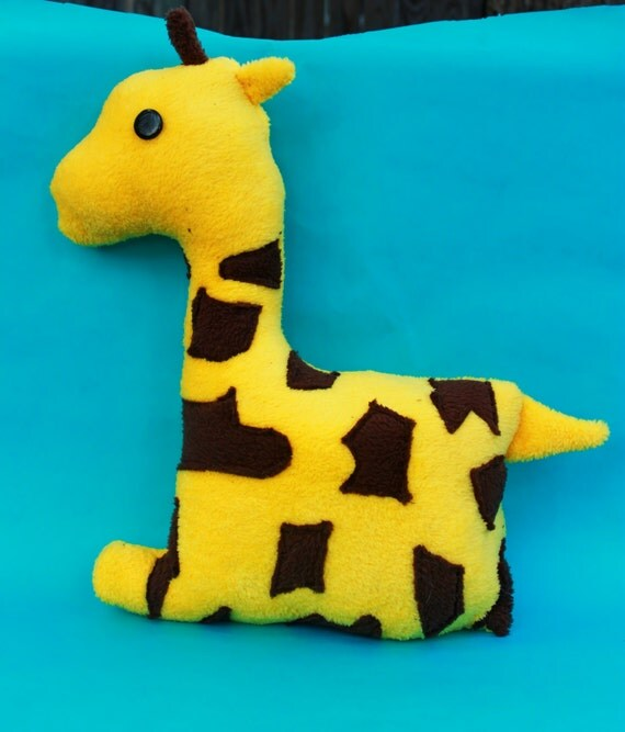 Zoo Animal Pillows : Bright Yellow Giraffe Zoo Animal Stuffed Animal by MnMCollection